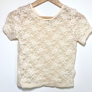 Forever 21 Creme Sparkle Lace Crop Top
